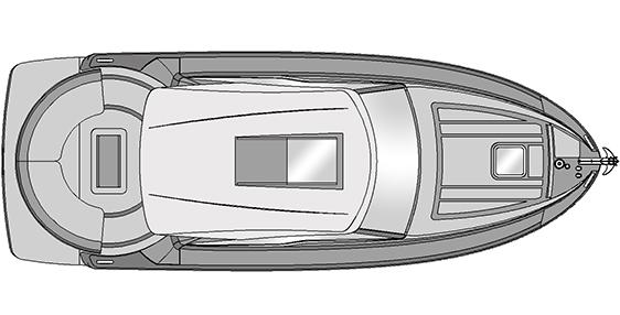Plano Rodman Spirit 31 Hard Top Inboard - Planta exterior escotilla manual
