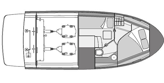 Plano Rodman Spirit 31 Hard Top Inboard - Planta habilitación bimotor
